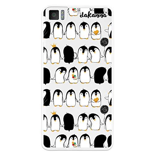 dakanna Kompatibel mit [Bq Aquaris M4.5 - A4.5] Flexible Silikon-Handy-Hülle [Transparenter Hintergr&] Pinguinmuster mit Eiscreme Design, TPU Hülle Cover Schutzhülle für Dein Smartphone