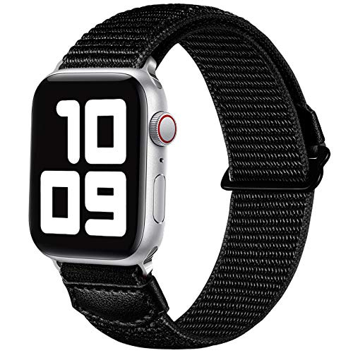 JUVEL Kompatibel mit Apple Watch Armband 38mm 40mm 42mm 44mm, Weiche Nylon Gewebe Sport Schlaufe Ersatz Armbänder Kompatibel für iWatch SE/iWatch Series 6/5/4/3/2/1, 38mm/40mm, Schwarz