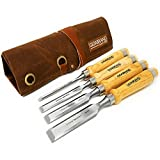 "Professional Wood Chisel Set with Tools Roll Bag – Carving & Woodworking Equipment with Chrome Vanadium Steel Blades & Ergonomic hardwood Handles – Sizes 6mm, 13mm, 18mm, 24mm (1/4"", 1/2"", 3/4"", 1"")"