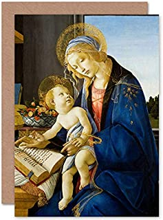 Botticelli Virgin And Child Madonna Of The Book Fine Art Greeting Card Plus Envelope Blank Inside