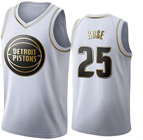 XZWQ Camisetas De Baloncesto para Hombre: NBA Pistons 25# Derrick Rose Camisetas Unisex Edición Jersey Malla Bordada Baloncesto Swing Camiseta para Hombre,Blanco,M