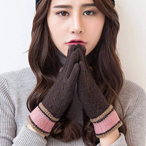 Gestrickte Handschuhe,Paar Touchscreen Handschuhe Männer Und Frauen Herbst Und Winter Outdoor Plus Samt Warme Süße Studentin Kaffee Handschuhe Aus Gewirken