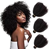Mongolian Afro Kinkys Curly Human Hair Bundles 4B 4C Virgin Human Hair Weaves for Black Women Afro Kinkys Bulk Human Hair Wavy Wefts Natural Black 8 10 12 Inch
