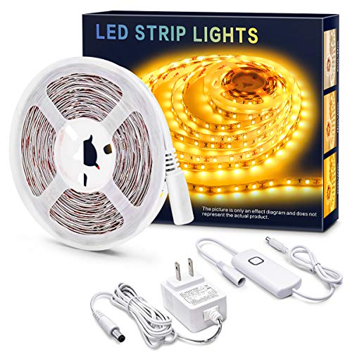 MYPLUS Dimmable LED Strip Lights, 16.4ft Tape Lights 2200K Amber Light, Flexible Light Strips 300 LEDs, Non-Waterproof and UL Listed Power Supply