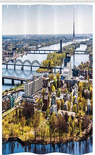 ABAKUHAUS Europese Douchegordijn, Bekijk van de oude stad Riga, voor Douchecabine Stoffen Badkamer Decoratie Set met Ophangringen, 120 x 180 cm, Veelkleurig
