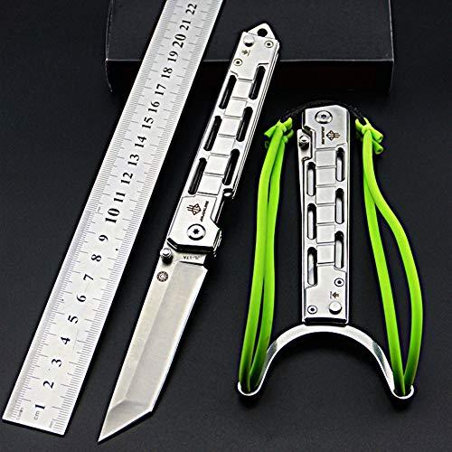 NedFoss Tanto Klappmesser Einhandmesser mit Schleuder Outdoor Messer EDC Messer Folder, 8,5 cm Klingenlänge (Silber)