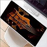 HONGHUAHUI Alfombra de ratón extra grande de la venta caliente de la guitarra Alfombrilla de ratón del juego antirresbaladiza Alfombrilla de ratón del juego del caucho natural con el borde de