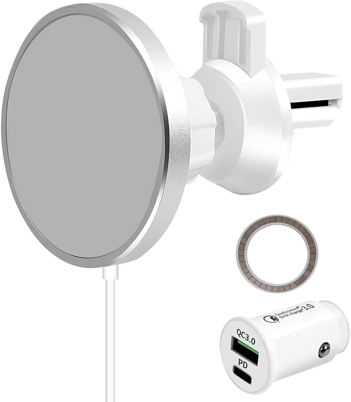 Marchero Magnetic Wireless Car Charger,Cell Phone Mount Air Vent Fast Charging for iPhone 13/12 Pro/Max/SE and Apple MagSafe Case[20W PD&QC 3.0 Car Charger Included]