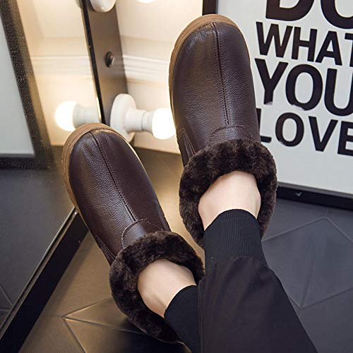 zapatos de casa antideslizantes de algodón lavable,Zapatos de invierno de algodón con tacón de bolso, pantuflas cálidas de suela gruesa-marrón oscuro _40-41,Zapatillas de casa Comfort Slippers para h