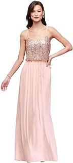 David's Bridal Long Sequin Blouson Bridesmaid Dress Style F19788