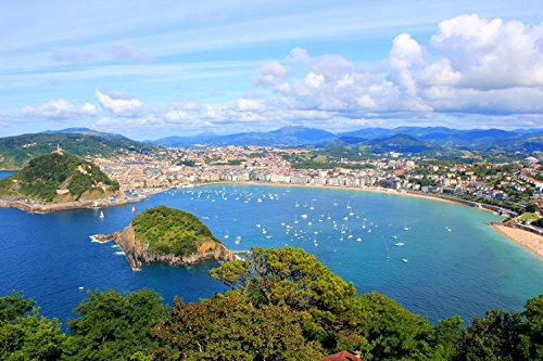 lunaprint San Sebastian Donostia Coastline Spain Europe Home Decor Art Wall Poster 43 X 27 cm