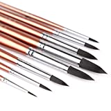 Transon Round Watercolor Detail Paint Brushes Goat Hair 8pcs for Watercolors,Acrylics,Inks,Gouache,Oil and Tempera
