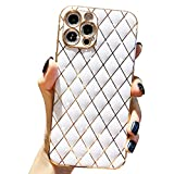 Anynve Compatible with iPhone 12 Pro Max Glitter Luxurly Plating Case, Unique Full Camera Lens Protection, Shockproof Edge Bumper Slim Soft TPU Phone Case [6.7 inch] -White