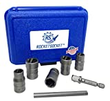 Get ROCKETSOCKET | Made in USA | Extraction Socket Set | 7 Pieces, impact grade | Remove stripped, frozen, rounded-off Bolts, Nuts & Screws | American Drawn Steel Just for $49.99