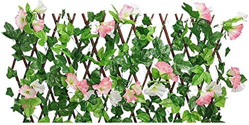 AACXRCR Cerca de jardín Cerca de Madera con Hoja de Hiedra Artificial, con coberturas retráctiles Expansión de la Valla de celosía con Flores de privacidad para jardín (Color: Rojo, tamaño: pequeño)