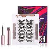 Magnetic Eyeliner Eyelash Stocking Stuffer Gift for Woman Girl 7 Pair Magnetic Eyelashes No Glue Reusable Silk False Lashes Makeup Gift for Valentine Women Girl