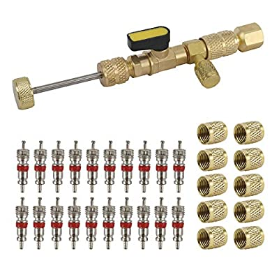 AuInLand R22 R134A R12 A/C Valve Core Removal Tool for HVAC Valve Core Removal Installation, with Dual Size SAE 1/4 & 5/16 Port, R410 R32 Brass Adapter, 20pcs Valve Cores and 10pcs Brass Nuts