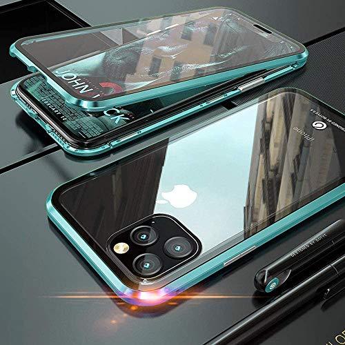 Aest Funda para iPhone 11 Pro MAX Adsorción Magnética Carcasa Frente y Parte Posterior de Transparent Vidrio Templado 360 Grados Proteccion Metal Antigolpes Case - Verde