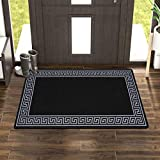 Renoazul Door Mat Non Slip Super Absorbent Heavy Duty Washable Doormats Floor Mats For Kitchen Office Chair Front Door Matt Indoor Outdoor | 40 X 60 Cm - Greekey Black & Grey