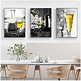 QIAOB Mural de Lienzo, Imagen de champán Amarillo, Pintura en Lienzo, Arte de Pared, impresión, Cartel de Copa de Vino, Pintura artística sin Marco