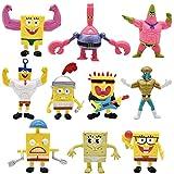 SpongeBob Mini Juego de Figuras, Hilloly 10 Piezas Caricatura Cake Topper, Fiesta de Cumpleaños DIY Decoración Suministros, Baby Shower Fiesta de cumpleaños Pastel Decoración Suministros