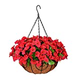 Homsunny Artificial Hanging Flowers in Basket, Silk Flower with 12 inch Flowerpot Centerpieces,Fake Hanging Plants in Coconut Lining Hanging Baskets for Outdoors Indoors Courtyard Decor (Rose red)