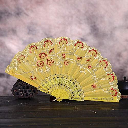LXTIN Abanico Plegable, Abanico de Mano de Seda de Encaje, Abanico Grande Chino japonés Plegable para Fiestas de Baile, Regalos de Boda, decoración de Bricolaje, decoración del hogar (co