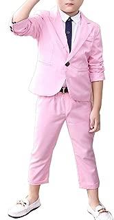 YUFAN Boys Blue & Pink Suit Set 2 Pieces Blue & Pink Blazer and Pants Set