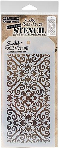 Tim Holtz Flammen Schablone, Synthetisches Material, 28,3x 11,5x 0,1cm