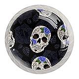 Perillas de gabinete de 4 piezas Perillas de tocador Perillas de cajón de cocinaRosas góticas y cráneos de azúcar. Mango de cristal
