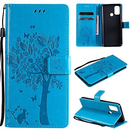 Zchen für Oppo A53s Hülle (6,5 Zoll), Kunstleder Portemonnaie Handy-Schutzhülle Book Flip Design Klapphülle Etui Tasche für Oppo A53s/Oppo A53 (Katze-Blau)
