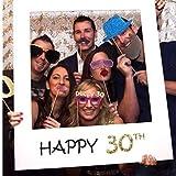 TOSSPER Fête d'anniversaire Heureux Cadre de 30 Ans Stand Vieux Joyeux Anniversaire Photo Booth Props Photo Décoration...