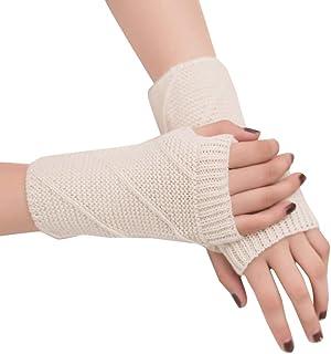 Quelife Womens Warm Winter Brief Paragraph Knitting Half Fingerless Gloves