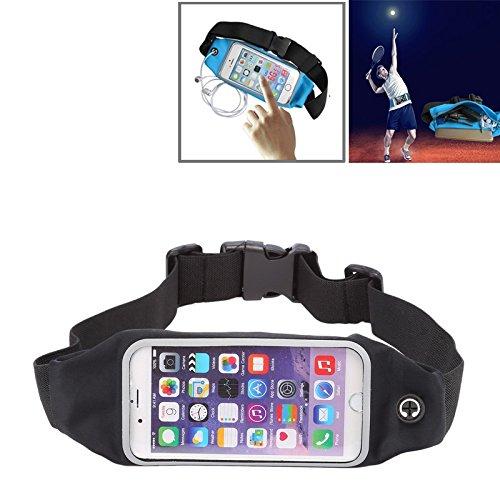 YIHUI Funda Protectora Resistente al Agua Cintura de los Deportes Bolsa Bolsa con Auriculares Orificio for el iPhone 6 y 6s (Color : Black)
