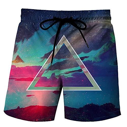 MLX-BUMU Color Starry Sky Pantalones Cortos De Verano para Hombre Pantalones Cortos Informales De Hip Hop con Estampado 3D para Hombre Pantalones Cortos De Playa,XXXL