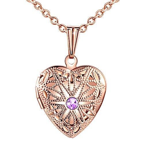 MicLee Damen Kette Edelstahl Foto Medaillon Photo Bilder Amulett Lila Zirkonia Rosegold Herzanhänger Halskette mit Geschenkbox Grußkarte