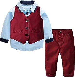 Ketamyy Bébé Garçons Ensemble Costume 4pcs Vêtement Enfant Tenue Gentleman Gilet+Pantalon+Chemise+Noeud Papillon pour Phot...