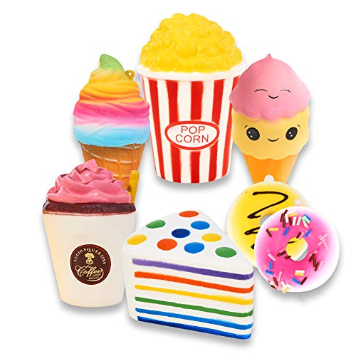 Slow Rising Jumbo SQUISHIES Set Pack of 7 - Rainbow Triangle Cake, Frappuccino, Popcorn, Donuts X2 & Ice Cream X2, Kawaii Squishy Toys or Stress Relief Toys Sticker Come with The Squishys