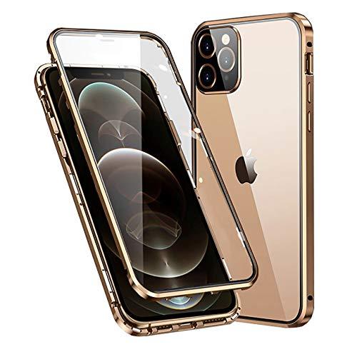 """MOSSTAR Funda Compatible con iPhone 12 Pro MAX 6,7"""",360 Grados Carcasa Completa, Adsorción Magnética, Marco de Metal, con Protector de Pantalla Incorporado, Cristal Templado Transparente Case,Oro"""