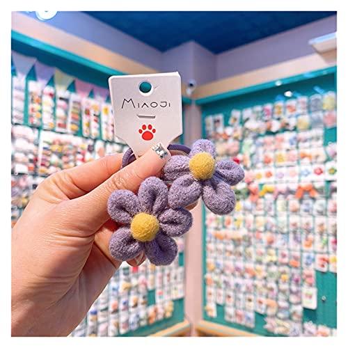 CHHNGPON Cuerda de Pelo para niños 2021 Corea Chica Simple Cuerda de Pelo Flores de Peluche de Color sólido Color Simple de la Banda para el Pelo para los Accesorios para el Cabello de la Moda