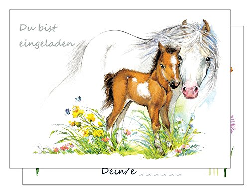 the lazy panda card company 15 Einladungskarten Kindergeburtstag Pferde / Pferd und Fohlen Geburtstagseinladungen Einladungen Geburtstag Kinder Mädchen (Mit passenden Umschlägen)