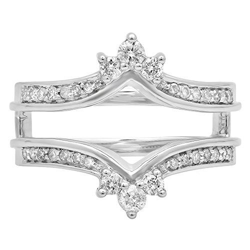 Dazzlingrock Collection 0.40 Carat (ctw) 14K Round White Diamond Wedding Band Enhancer Guard Double Ring, White Gold, Size 5.5