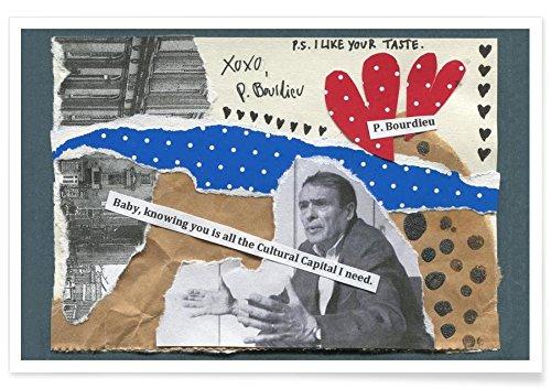 """JUNIQE® Liebeszitate Lustig Poster 20x30cm - Design """"Pierre Bourdieu"""" entworfen von The Pick-Up Theorist"""