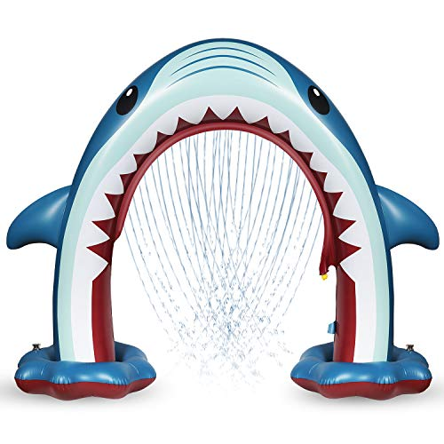 Anpro Giant Shark Sprinkler for Kids  Summer Inflatable Water Toys Outdoor Arch Sprinkler for Boys Girls Outside Water Games for Kids Party