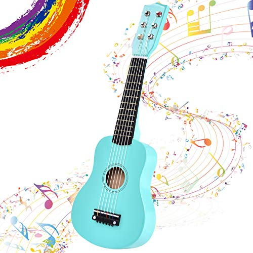 GOPLUS 1/2 Größe Kindergitarre, Konzertgitarre aus Holz, Anfängergitarre mit 6 Nylonsaiten, Akustikgitarre mit Plektrum, aus Holz, für Kinder ab 3 Jahren, für Anfänger (Blau)