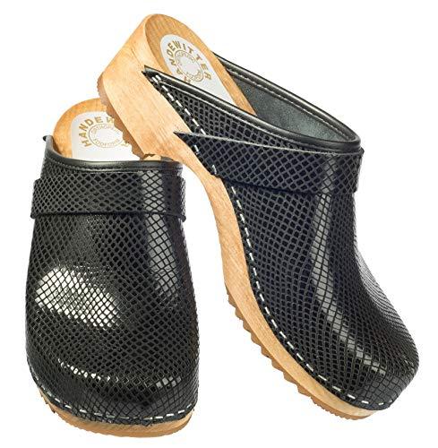 Madera Zapato Cargar handewitt Madera Managua–Zuecos Abierto Negro, Color Negro, Talla 43 EU
