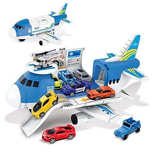 BeebeeRun Coche de Juguete 2 3 4 5 Años,Coches Juguete para Niños Chicos,Camión Transportador Aviones De Juguete Regalo
