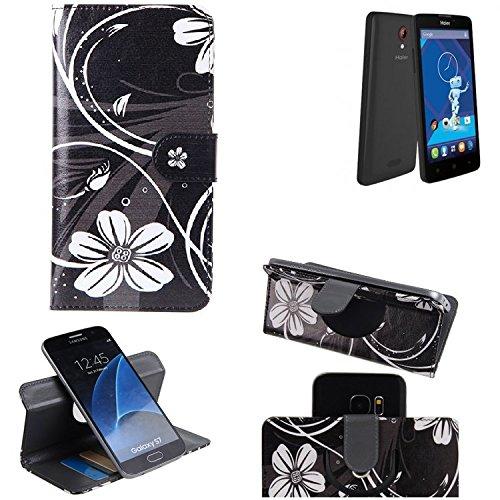 K-S-Trade Schutzhülle Für Haier Phone L52 Hülle 360° Wallet Hülle Schutz Hülle ''Flowers'' Smartphone Flip Cover Flipstyle Tasche Handyhülle Schwarz-weiß 1x