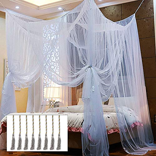 Twinkle Star 4 Corner Post Bed Canopy, Elegant Dome Bed Netting Canopy Curtains Canopy for Single to King Size Beds, Home &Travel Use (Grey)