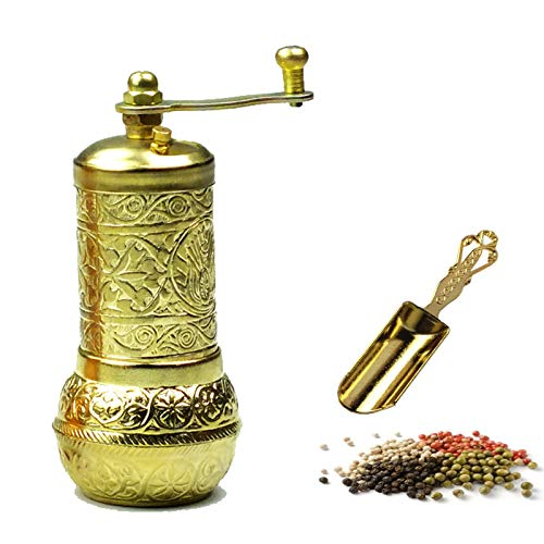 MoonShield Pepper & Salt Grinder - Turkish Coffee Mill - Mini Antique Look Spice Shovel - Salt Shaker - Zinc Alloy Casting Best Carving Metal - Adjustable Coarseness (Gold)